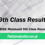 9th class result Malakand Board