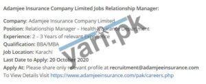 Adamjee Insurance Company Limited Jobs In Karachi Pakistan Education