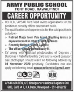 Army Public School Jobs in Rawalpindi