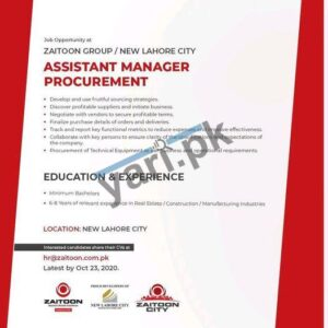 Assistant Manager Procurement Jobs in Lahore