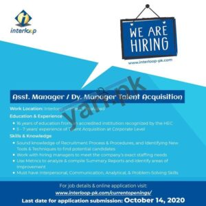 Assistant Manager Talent Acquisition Jobs in Faisalabad