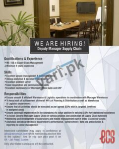 ECS Deputy Manager Supply Chain Jobs in Lahore