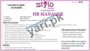 HR Manager Jobs in Lahore