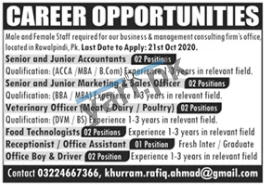 Management Staff Jobs In Rawalpindi
