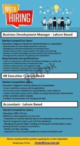 Manager HR & Accountant Jobs in Lahore