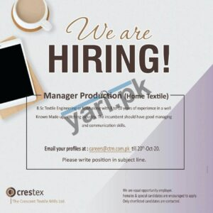 Manager Production Jobs in Faisalabad