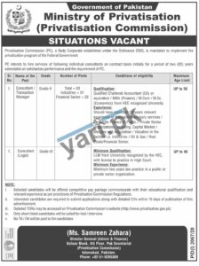 Ministry of Privatisation Jobs In Islamabad