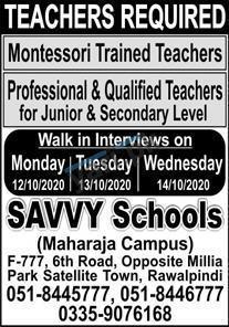 Savy School Jobs in Rawalpindi