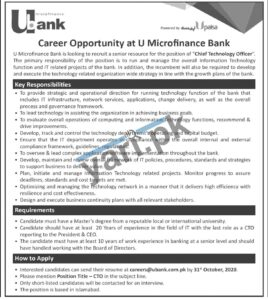 Ubank Islamabad Jobs for Chief Technology Officer