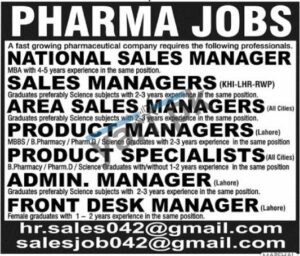 Admin Manager and Front Desk Manager Jobs in Lahore