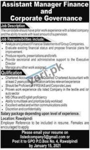 Assistant Manager Finance & Corporate Governance Islamabad Jobs