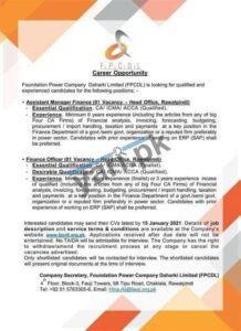 Assistant Manager Finance & Finance Officer Jobs in Rawalpindi