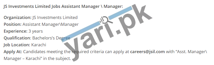 Assistant Manager Jobs in JS Investments Limited