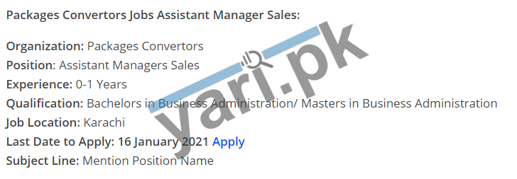 Assistant Manager Jobs in Karachi Packages Convertors