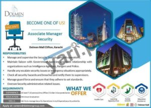 Associate Manager Security Jobs in Dolmen Mall Karachi