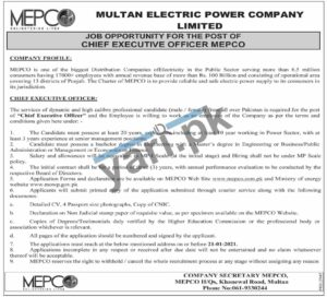 Chief Executive Officer CEO Jobs In MEPCO