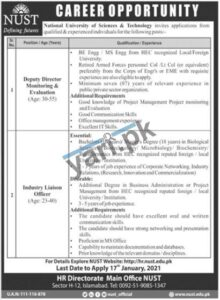 Deputy Director Jobs in National University of Science & Technology NUST