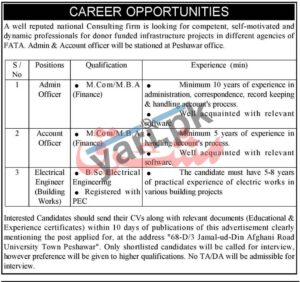Electrical Engineer Government Jobs in Peshawar