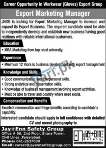 Export Marketing Manager Jobs in Faisalabad
