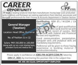 General Manager Taxation Jobs in FF Steel Manufacturing Industry