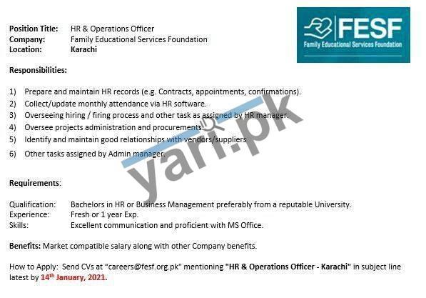 HR & Operations Officer (Fresh) Jobs in Karachi