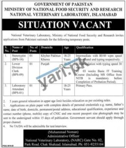 Management Staff Jobs in National Veterinary Laboratory
