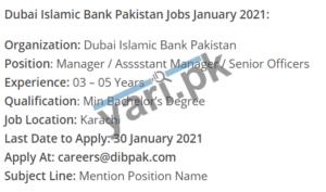 Manager Jobs in Dubai Islamic Bank Pakistan