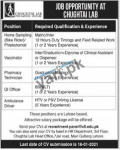 Medical Staff Jobs in Chughtai Laboratory