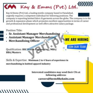 Merchandising Manager Officer Jobs in Faisalabad