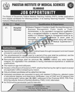 Pakistan Institute of Medical Sciences Jobs in Islamabad