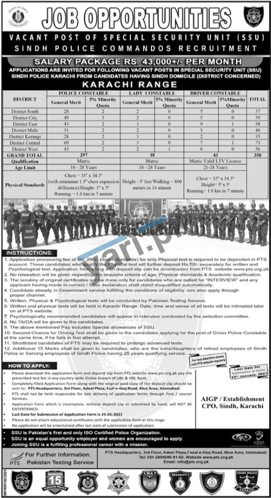 Police Constable & Lady Constable Jobs in Sindh Police