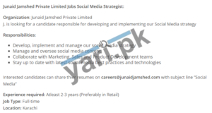 Social Media Strategist Jobs in Junaid Jamshed Private Limited
