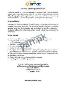 Talent Acquisition Officer Jobs in Imtiaz Super Market Karachi