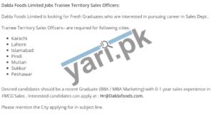 Trainee Territory Sales Officers Jobs in Lahore