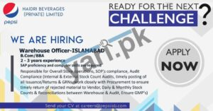 Warehouse Officer Jobs at Haidri Beverages Islamabad